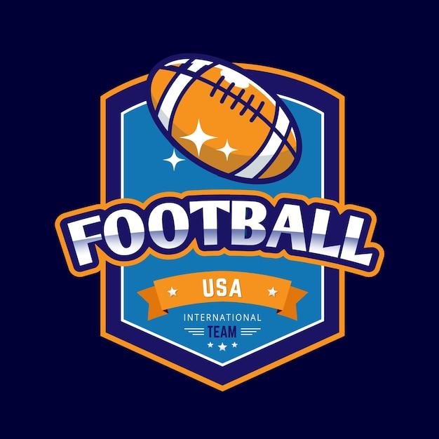 アメリカンフットボールのレトロなラグビーボールのロゴのテンプレート 無料ベクター