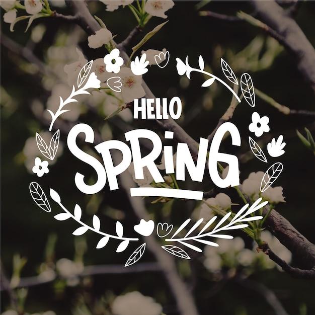 こんにちは春の写真とレタリング 無料ベクター