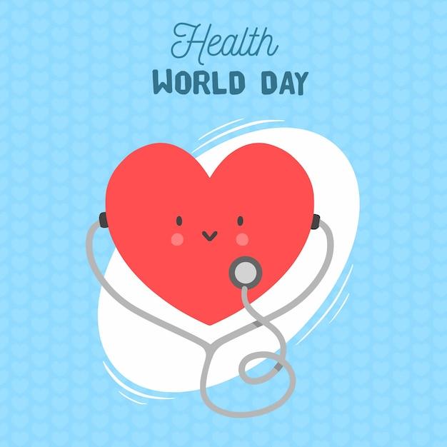 Счастливый день здоровья мира с сердцем, слушая стетоскоп Бесплатные векторы