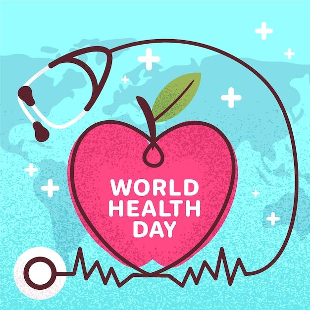 Всемирный день здоровья стетоскоп и сердце рисованной Бесплатные векторы