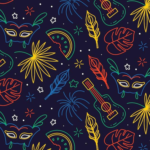 Бразильский карнавал в руке Бесплатные векторы