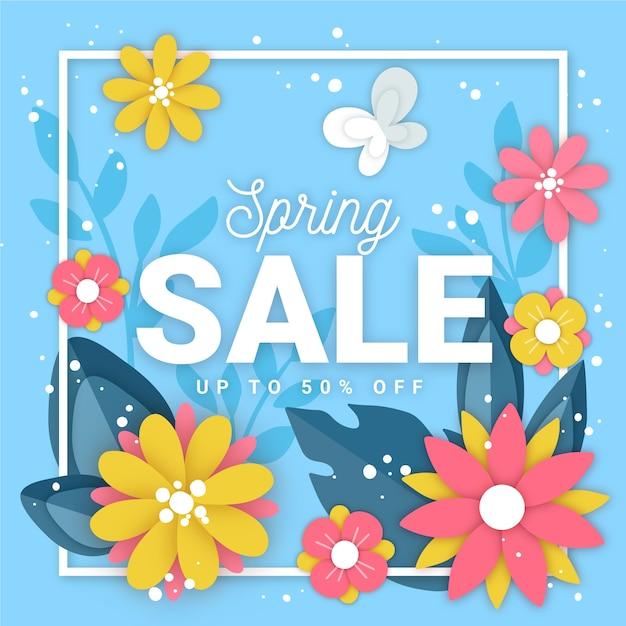 Бумага в стиле весна с распродажей Бесплатные векторы