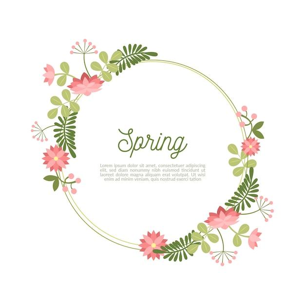 手描きの春の花のフレーム 無料ベクター