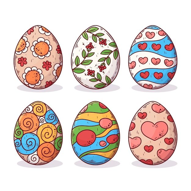 Нарисованная рукой концепция сбора пасхального яйца Бесплатные векторы