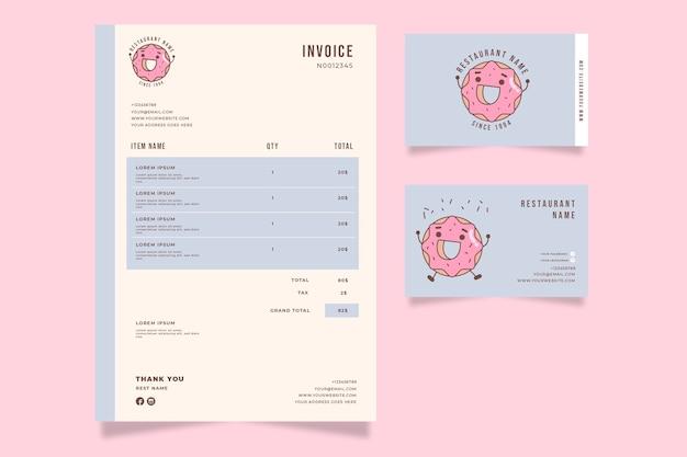 Шаблон счета счастливый пончик Бесплатные векторы