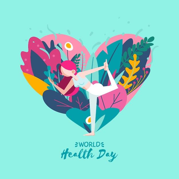 手描き世界保健デーの壁紙 無料ベクター