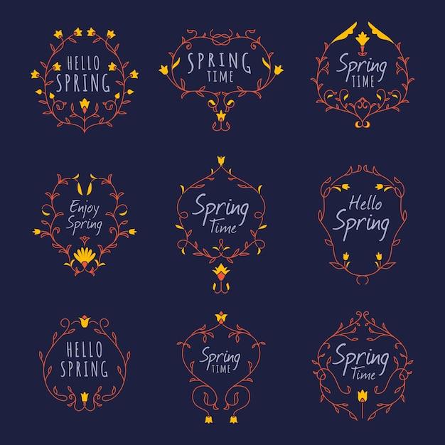 フラットなデザインの春ラベルコレクション 無料ベクター