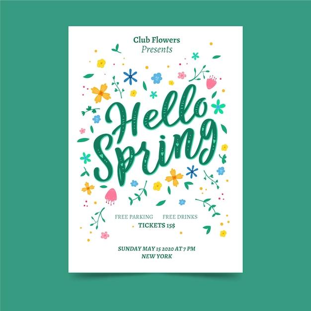 Привет весенний постер с цветами Бесплатные векторы