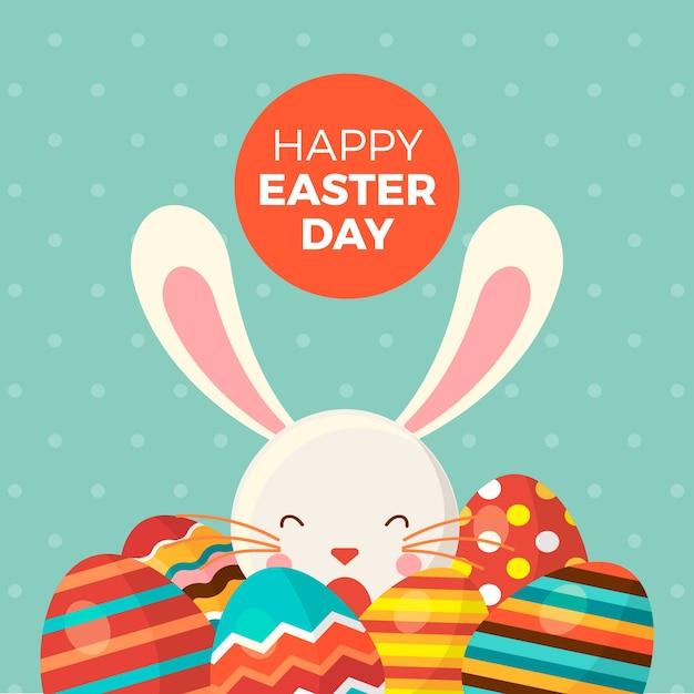 バニーと塗装卵とハッピーイースターの日 無料ベクター