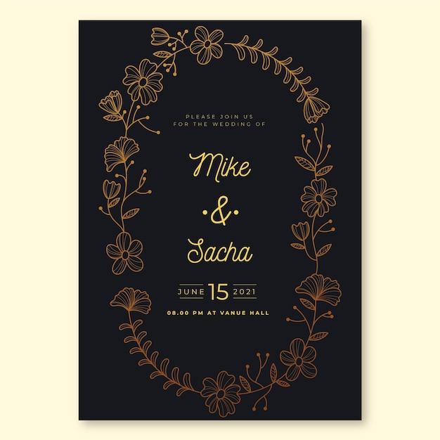 Роскошная тема для свадебного приглашения Бесплатные векторы
