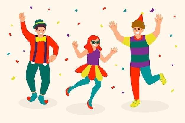 Карнавал танцоров коллекция концепции иллюстрации Бесплатные векторы