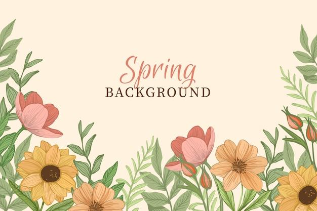 ヴィンテージの花と春の背景 無料ベクター