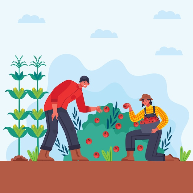 男と女の有機農業の概念 無料ベクター