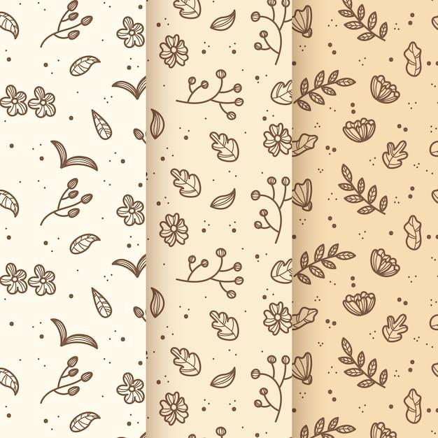 ヴィンテージの葉手描き春パターン 無料ベクター