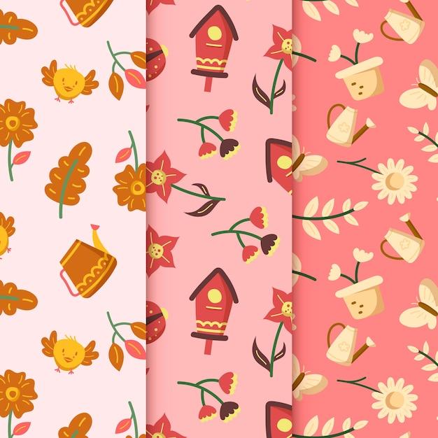 鳥の家と花の手描きの春のパターン 無料ベクター