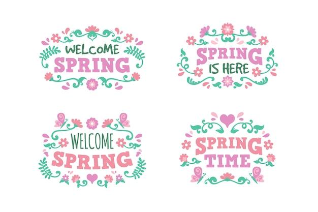 Плоский дизайн привет весенний сезон значок Бесплатные векторы