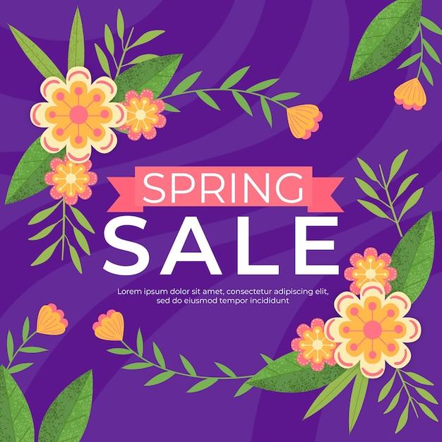 Плоский дизайн сезонный весенний дизайн продажи Бесплатные векторы