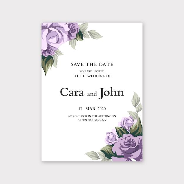 花の結婚式の招待状のテンプレートコンセプト 無料ベクター