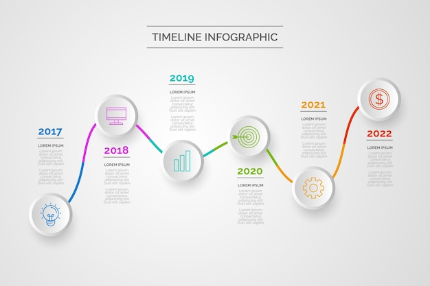 Хронология инфографика дизайн Бесплатные векторы