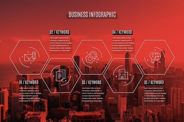 Бизнес инфографики с фото Бесплатные векторы
