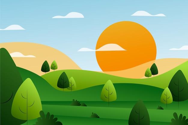 Градиент весенний пейзаж Бесплатные векторы