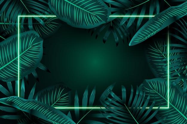 緑のネオンフレームと現実的な葉 無料ベクター