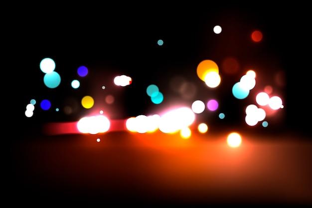 暗い背景にボケライト効果 無料ベクター