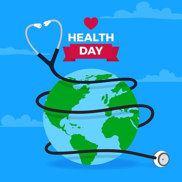Плоский дизайн всемирный день здоровья фон Бесплатные векторы