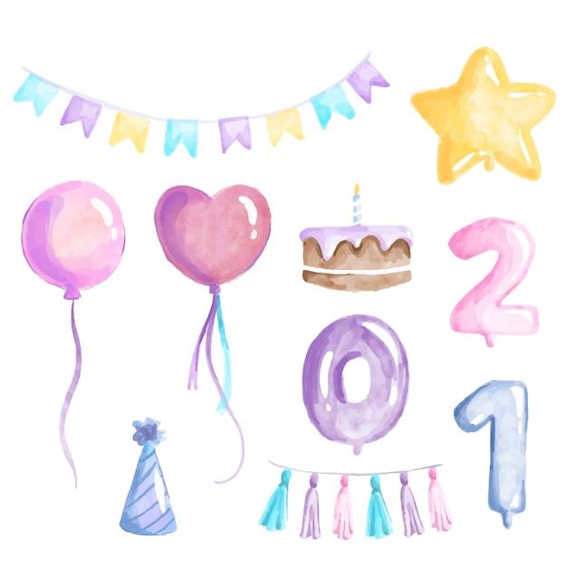 Концепция оформления дня рождения Бесплатные векторы