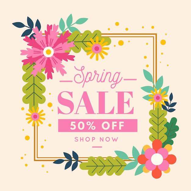 花とフラットスタイルの春のセール 無料ベクター