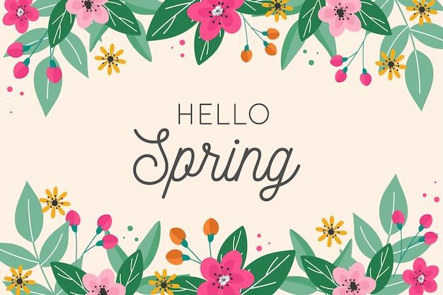 Привет весенний дизайн надписи с цветочной рамкой Бесплатные векторы