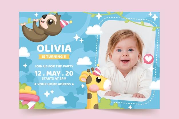 Детский шаблон приглашения на день рождения с фото Бесплатные векторы
