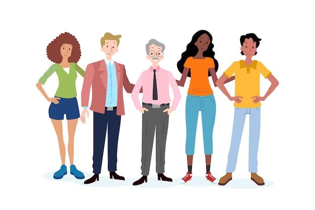 Группа молодых и старых людей Бесплатные векторы