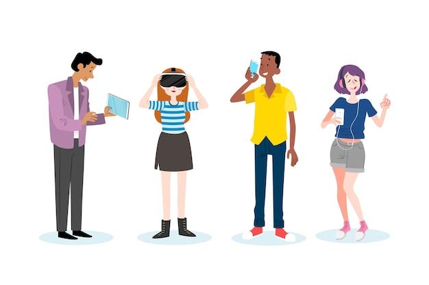 Молодые люди с смартфона и планшета Бесплатные векторы