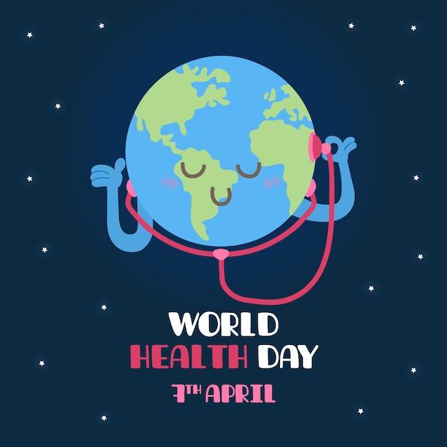 手描き世界保健デーのコンセプト 無料ベクター