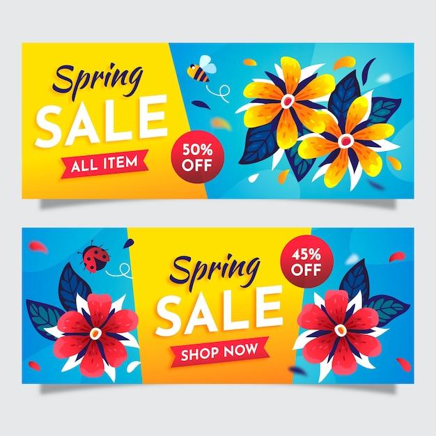 Красочные плоские весенние продажи баннеров Бесплатные векторы