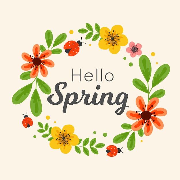 芸術的なこんにちは春のデザイン 無料ベクター