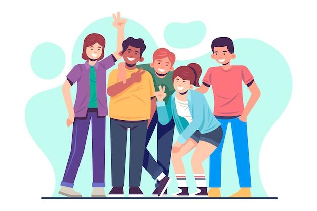 Молодые люди иллюстрация Бесплатные векторы