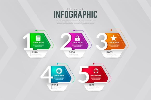 Современная хронология инфографики Бесплатные векторы