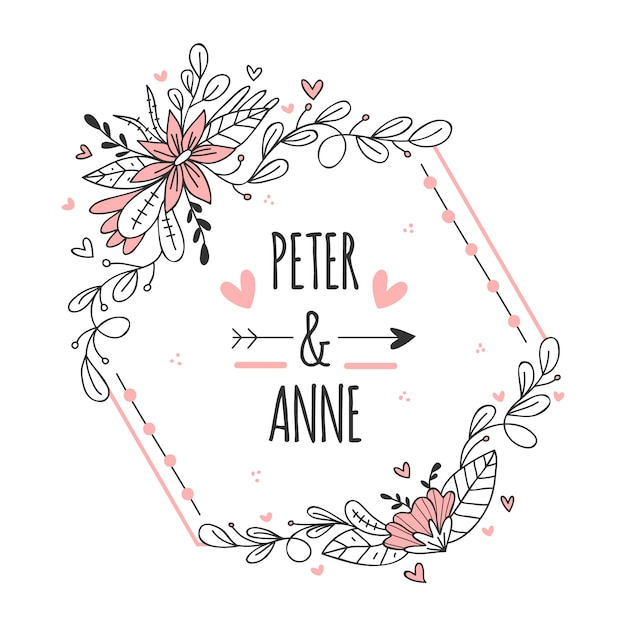 Современная розовая рамка для свадьбы с цветами Бесплатные векторы