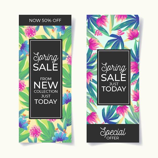 Красочные весенние распродажи баннеров Бесплатные векторы