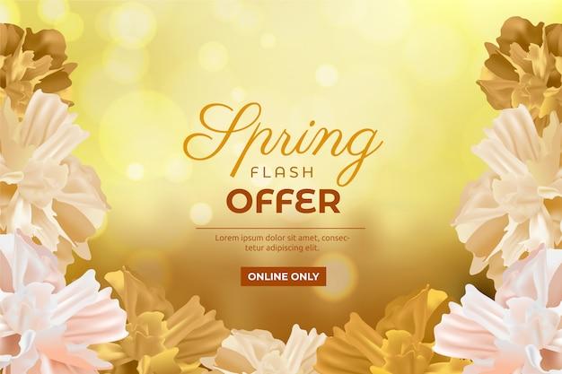 Реалистичные цветочные весенние распродажи Бесплатные векторы