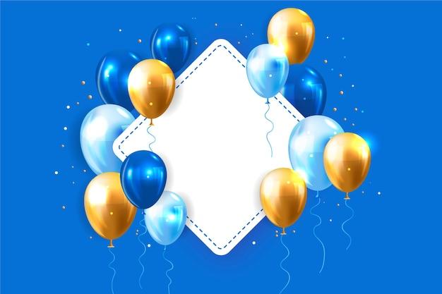 Реалистичные воздушные шары с чистым листом бумаги Бесплатные векторы
