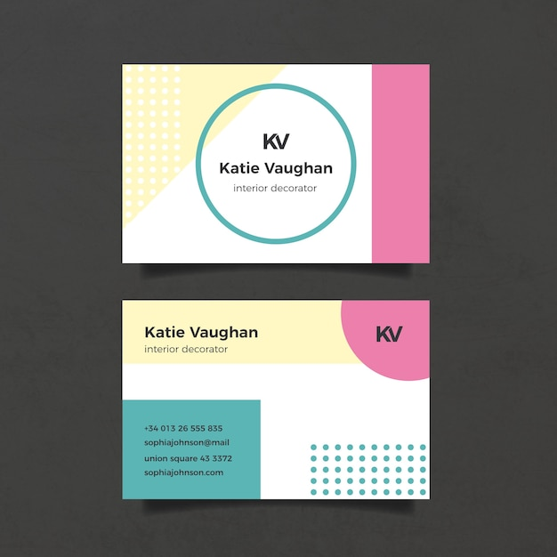 Минималистский шаблон визитной карточки с точками Бесплатные векторы