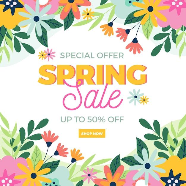 Весенние лучшие предложения продажи и полевые цветы Бесплатные векторы