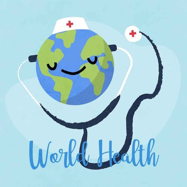 手描きの背景世界保健デー 無料ベクター