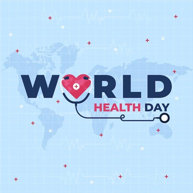 世界保健デー聴診器コンセプト 無料ベクター