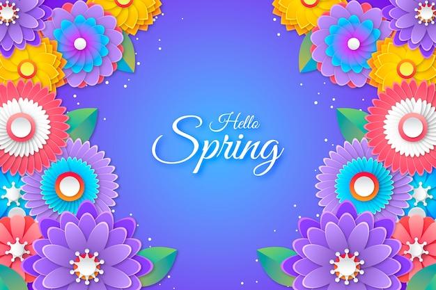 Красочные привет весна надписи на бумаге стиль фона Бесплатные векторы