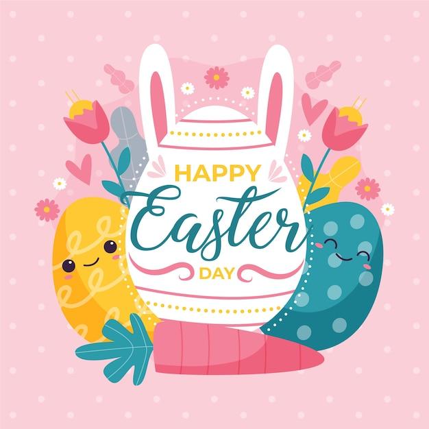 Ручной обращается счастливый пасхальный день с красочными яйцами Бесплатные векторы