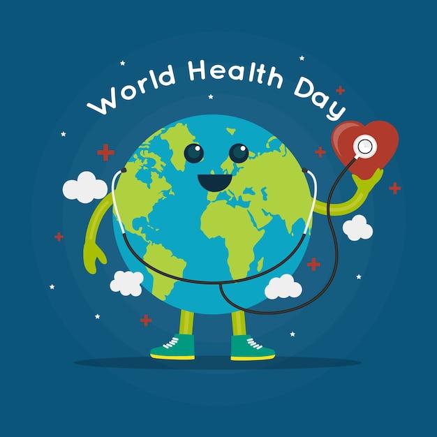 地球とフラット世界保健デー 無料ベクター